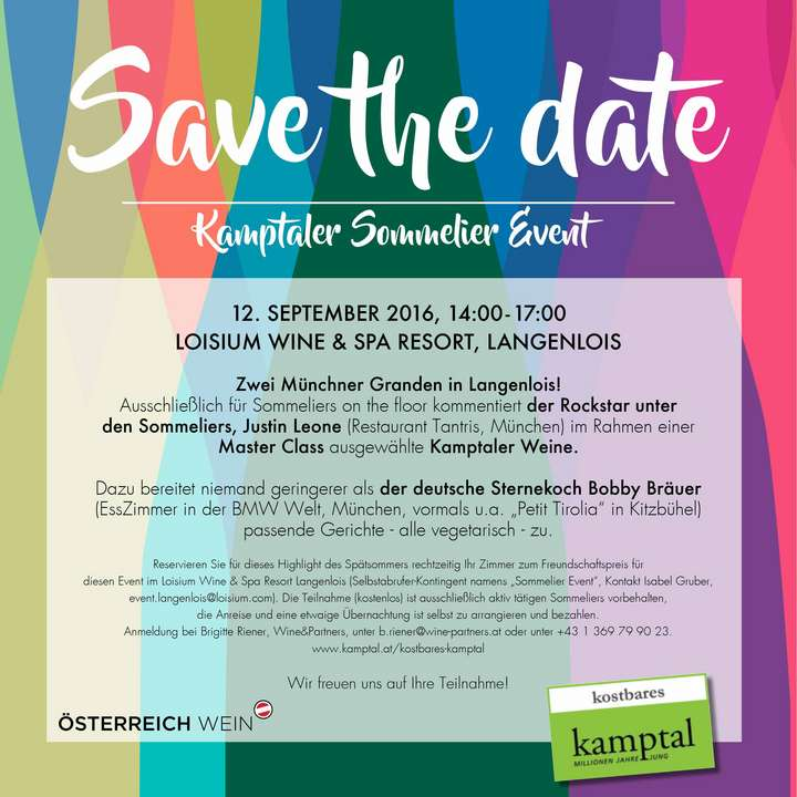 Save the Date - Kamptaler Sommelier Event